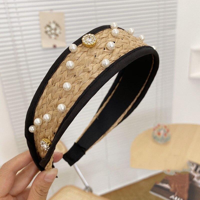Versión coreana de diadema simple de perlas, diamantes de imitación tejidos, diadema ligera de ala ancha, accesorios para el cabello de lavado retro, Agujero ne