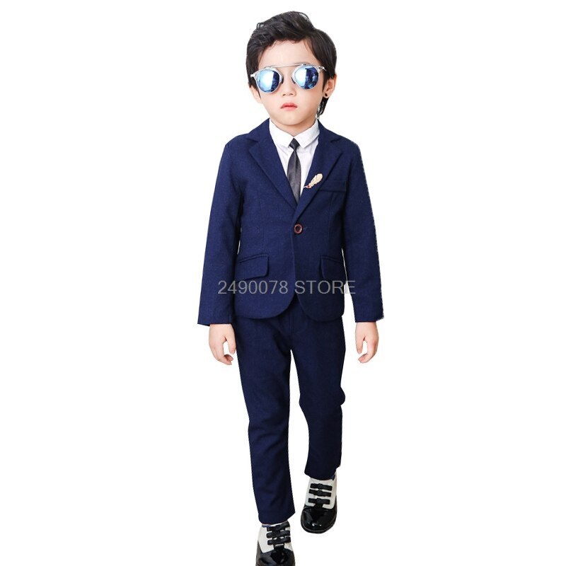 Flower Boys Formal Wedding Suit Children Blazer +Pants Tie 3 Pcs Clothing Set Kids Performance Party Tuxedo Dress Costume