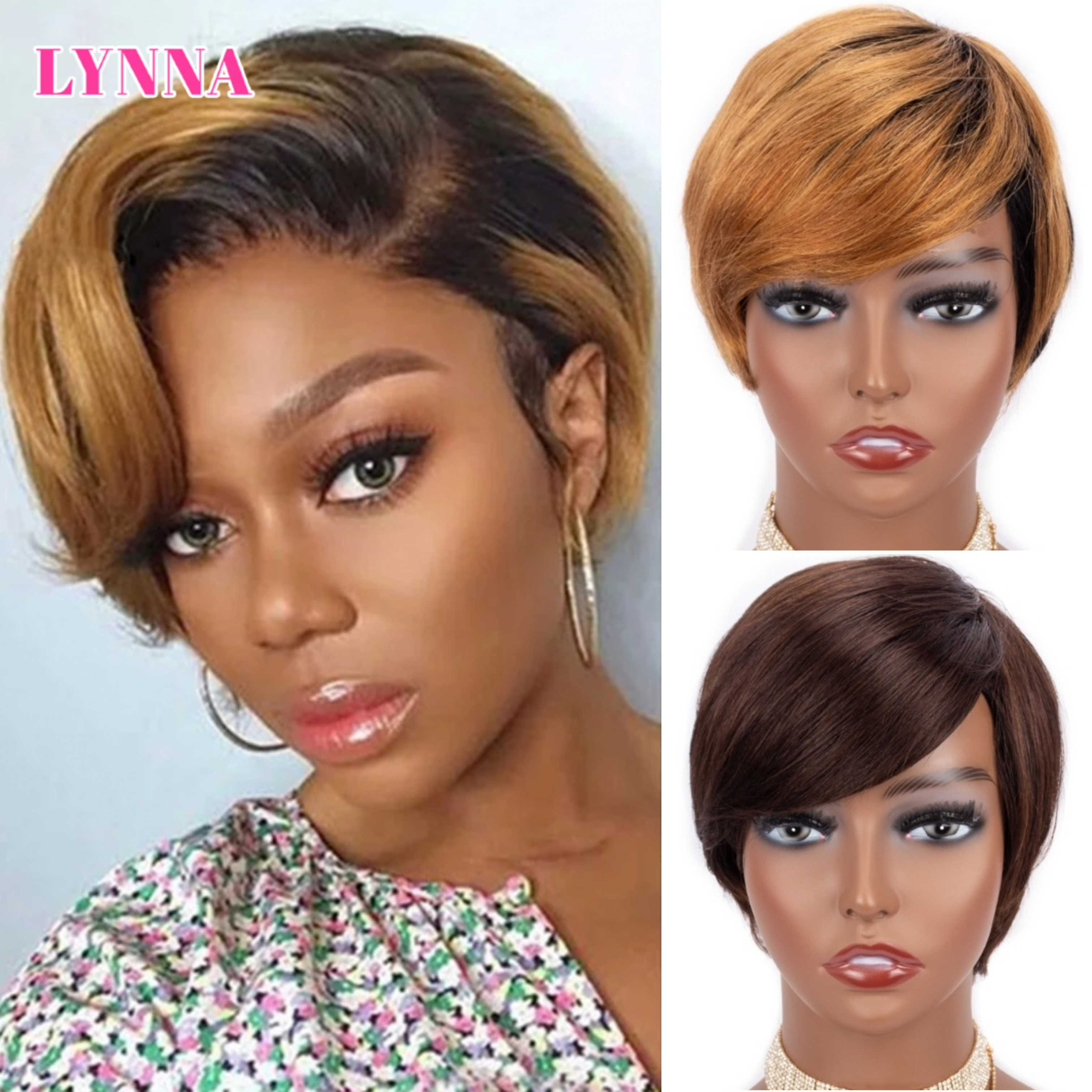Pixie Cut Wig Human Hair Straight BOB Short Wigs With Bangs Honey Blonde Ombre Color Full Machine Hu