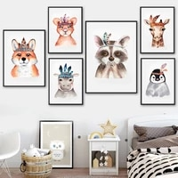 penguin raccoon deer lion fox hippo cute animal wall art canvas painting nordic posters and prints wall pictures kids room decor