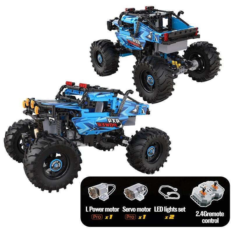Bloques de construcción de automóviles todoterreno teledirigido para niños, juguete de piezas...