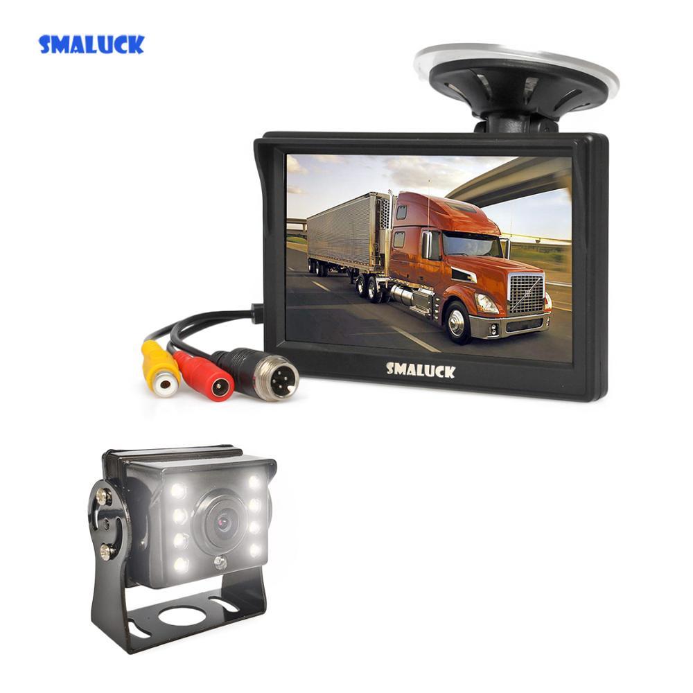 "SMALUCK 5"" Reverse Car Monitor Waterproof LED Color Night Vision Backup Bus Truck CCD Rear View Camera free Car Charger"