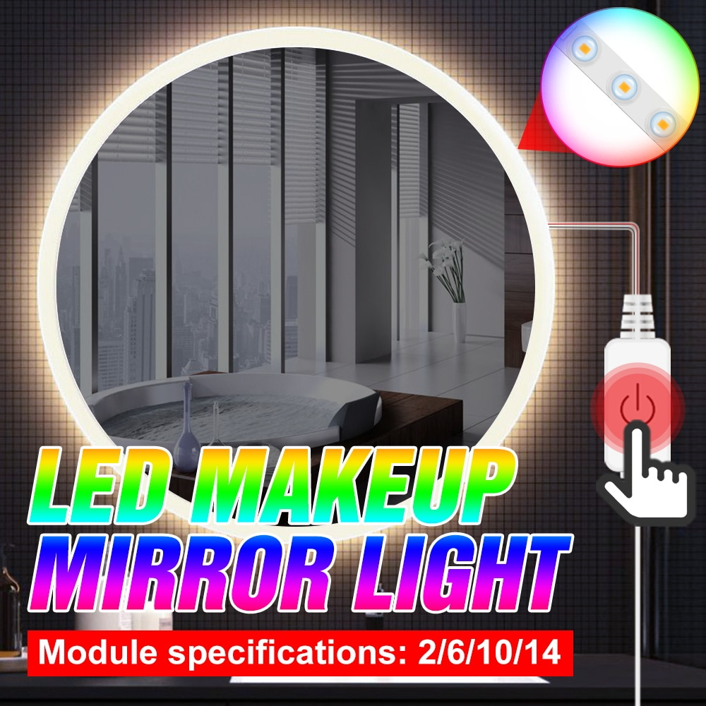 5V Hollywood Touch Dimmable Mirror Light LED Makeup Lamp 2 6 10 14 Modules Kit USB Dressing Table Cosmetic Light Mirror Light