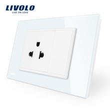 Livolo uns Steckdose mit usb ladegerät, Weiß Schwarz Kristall Glas-Panel, AC110 ~ 250V 16A Wand Steckdose, Französisch com buchse