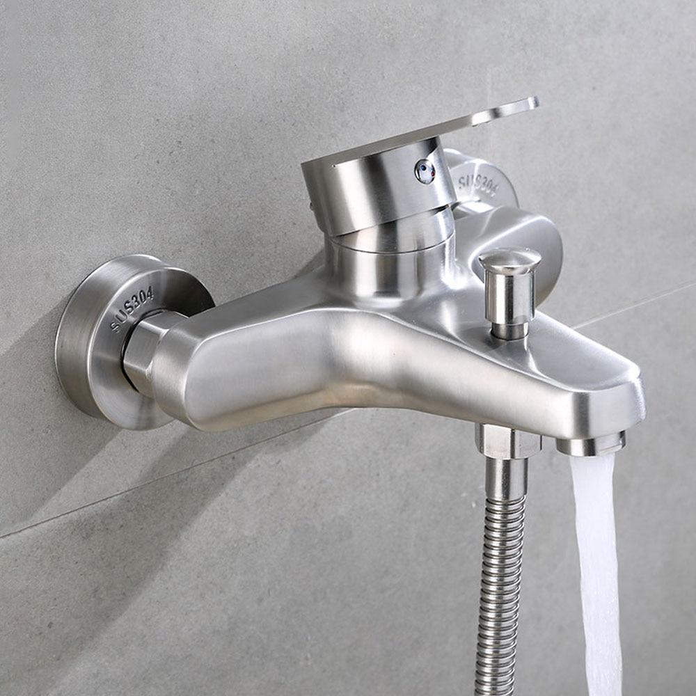 SUS 304 الفولاذ المقاوم للصدأ الساخن Cold الحائط مقبض واحد اثنين من الثقوب الثلاثي بالوعة حوض الاستحمام الحنفية الحمام دش صنبور حوض