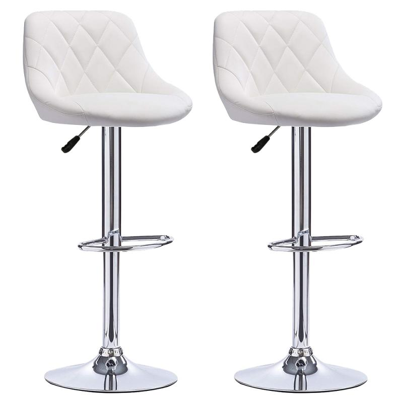 2Pcs/Set Modern Bar Stools PU Leather Bar Stool Lift Height Adjusted Swivel Leisure Home Office Kitchen Backrest Chair Bar Table