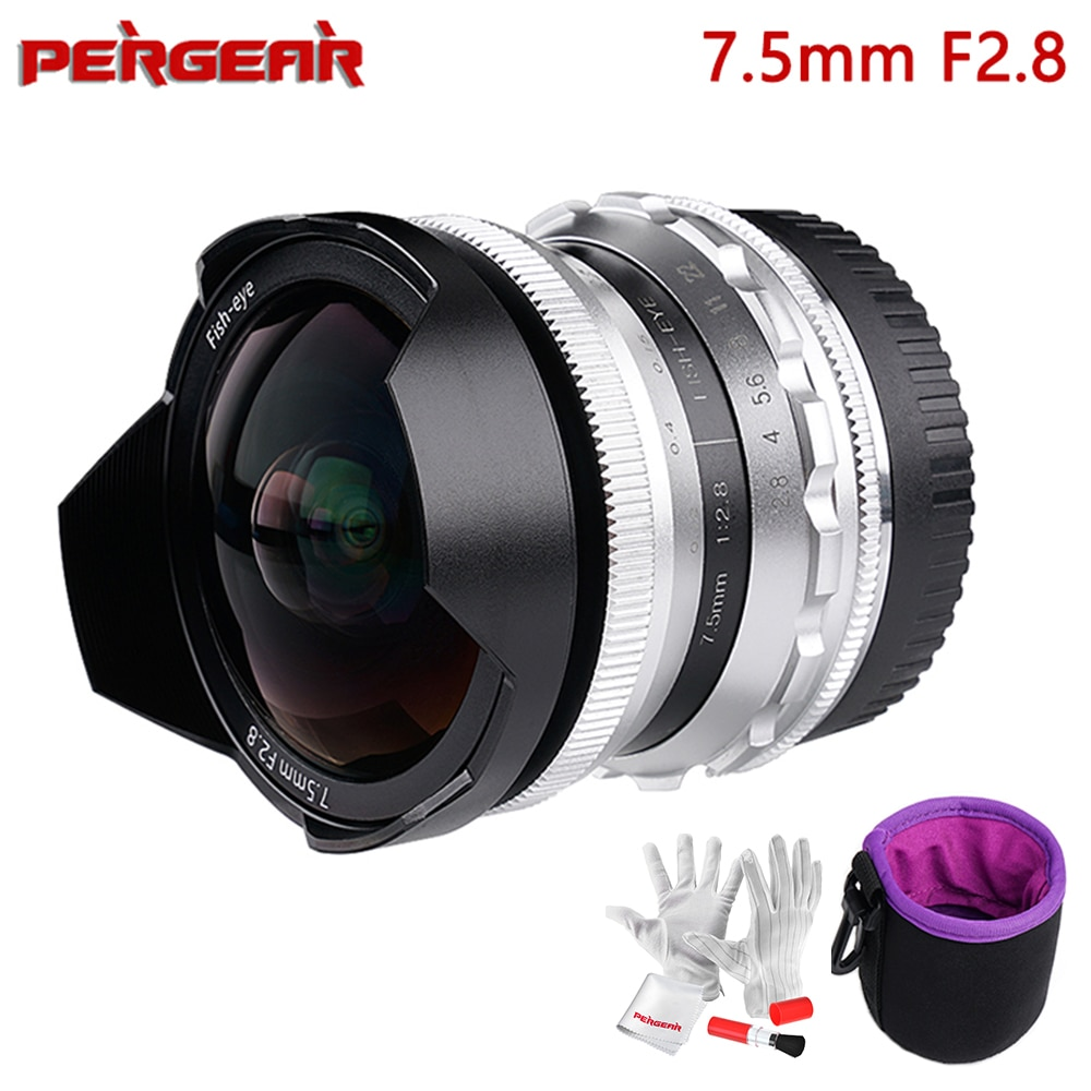 Pergear-عدسة عين السمكة الثابتة ، 7.5 مللي متر F2.8 ، تركيز يدوي ، لـ Olympus Panasonic M4/3 ، لسوني E Mount A7 ، لكاميرات Fuji X بدون مرآة