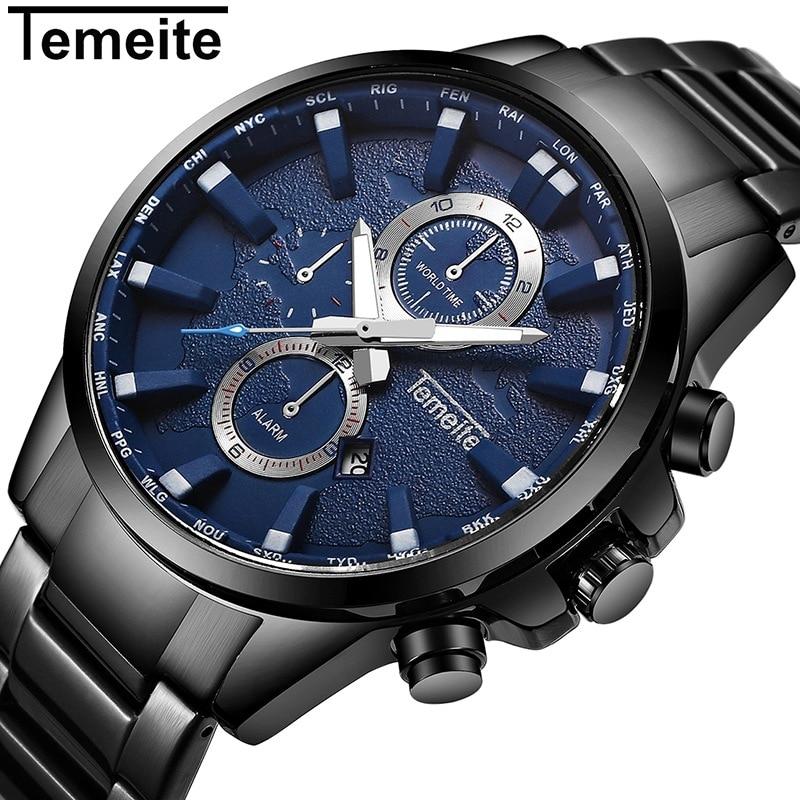 Relojes de pulsera TEMEITE de acero inoxidable de lujo para hombre, reloj de pulsera de cuarzo de 3ATM para hombre, calendario Alram Relogio