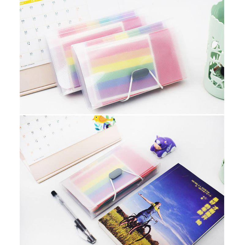 Bolsa de documentos A6 de Color arcoíris, Cute Mini recibo de facturas, carpeta de 13 rejillas