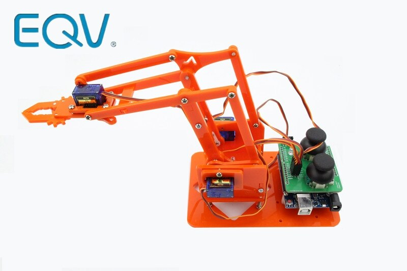 EQV 4 DOF desmontaje acrílico Robot brazo mecánico garra manipulador para Arduino fabricante aprendizaje DIY Kit Robot