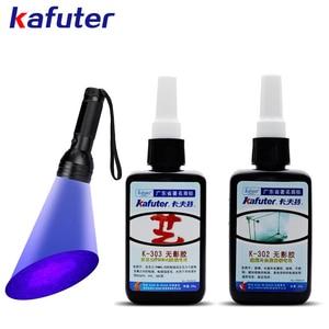 Strong  50ml Kafuter UV Glue UV Curing Adhesive K-303/302 51LED UV Flashlight UV Curing Adhesive Crystal Glass Metal Bonding