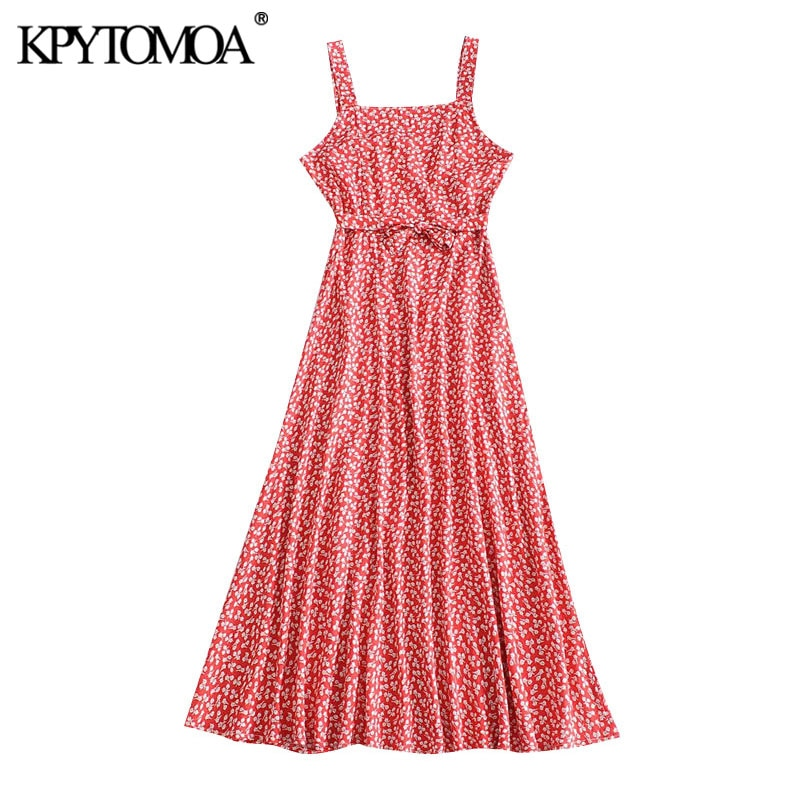 KPYTOMOA Women 2020 Chic Fashion Floral Print With Belt Midi Dress Vintage Backless Zipper Straps Female Dresses Vestidos Mujer