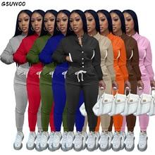 GSUWOO Autumn Tracksuit Women Casual Solid Button Up Fleece Jacket Drawstring Sweat Pants Fitness Ba