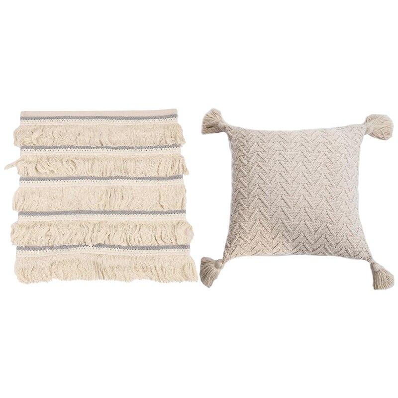 2 قطعة كيس وسادة وسادة ديكور المنزل كيس وسادة مربع ، أبيض وكريمي-أبيض
