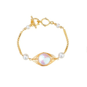 ICNWAY Natural 6-14mm Gold Wire Wound  Freshwater Pearl 14KGF  Wire Hand-Wrapped  Bracelet