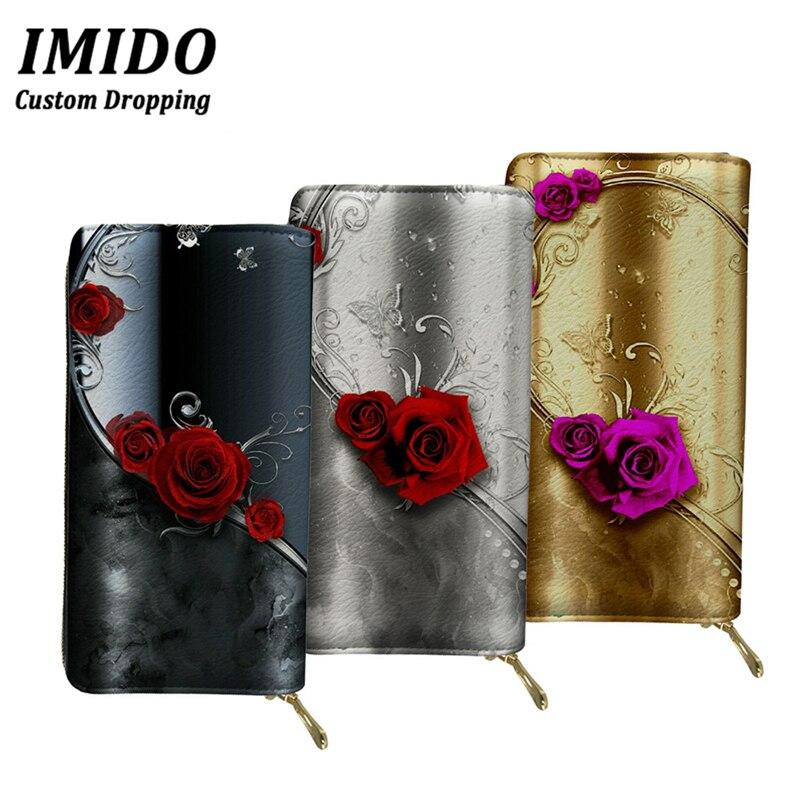 IMIDO Floral monedero mujer Rosa Flores de lujo mujeres carteras gótico señoras monedero titular de la Tarjeta de pasaporte teléfono bolsas de dinero