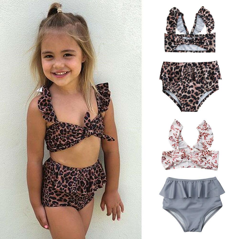 AliExpress - Kids Girl High Waist Leopard Floral Swimming Bikini Costume Swimwear Ruffles Bandage Swimsuit Beachwear