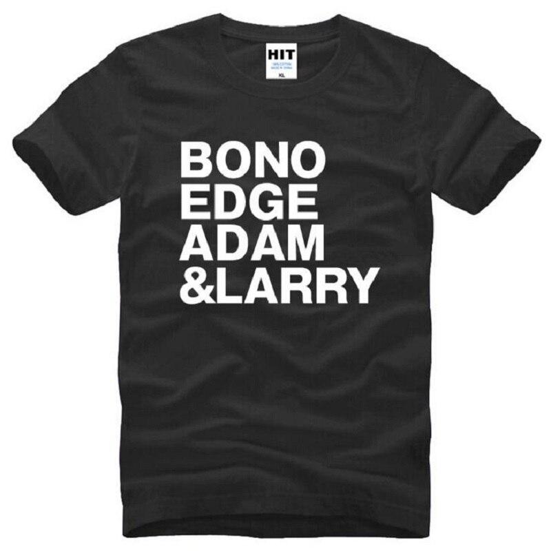 U2 BONO RAND ADAM LARRY Gedruckt T Shirts Männer Sommer Kurzarm O Hals Baumwolle herren T Shirt Mode rock Musik Herren T Shirts