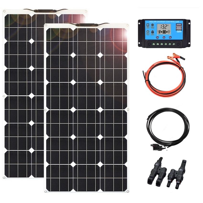 18 فولت 100 واط 200 واط 300 واط 400 واط أحادية لوحات شمسية مرنة عدة مع تحكم PWM ل 12 فولت/24 فولت شاحن بطارية/المنزل/RV/قارب