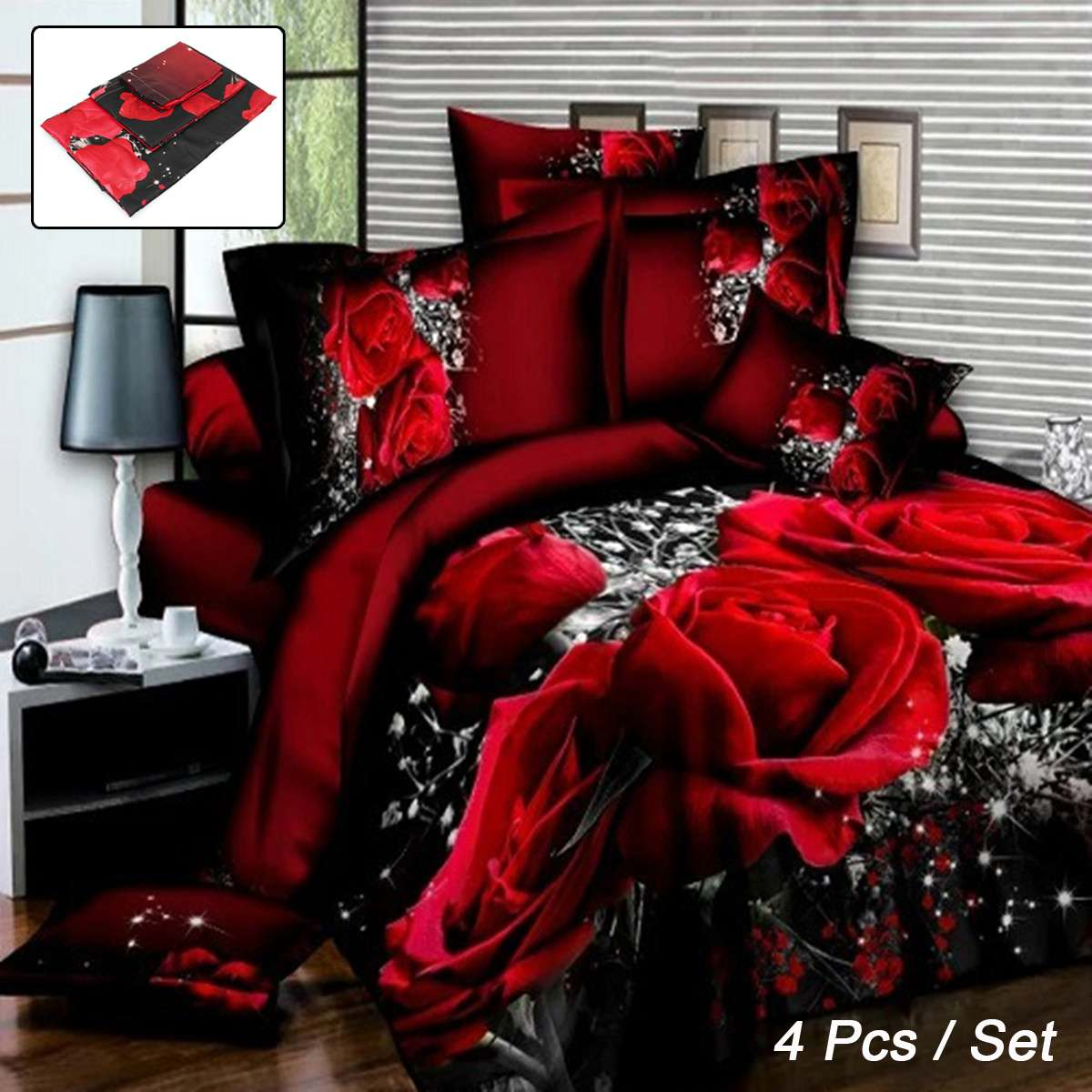Cotton 3D Rose Bedding Sets Soft Duvet Cover Bedsheet Pillowcase Bedclothes Queen King Twin Size Bed Linen Set Wedding Gifts
