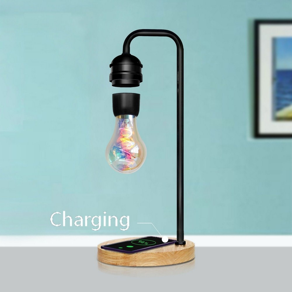Magnetic Levitation Lamp Floating Bulb Wireless Charging LED Desk Lamps Creative Hanging Table Light Bedroom Living Room Decor