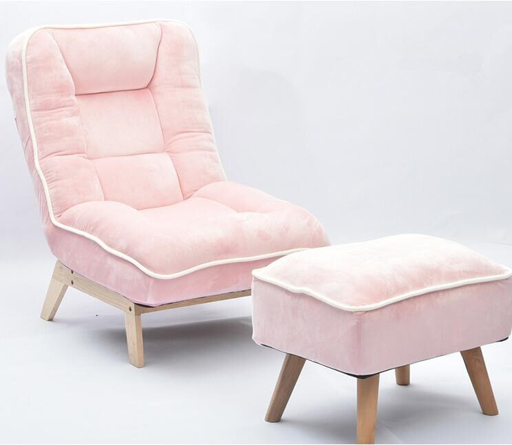 Sofá perezoso plegable Individual con taburete reposapiés reclinable respaldo ajustable Silla de salón suelo acolchado sofá silla Color rosa