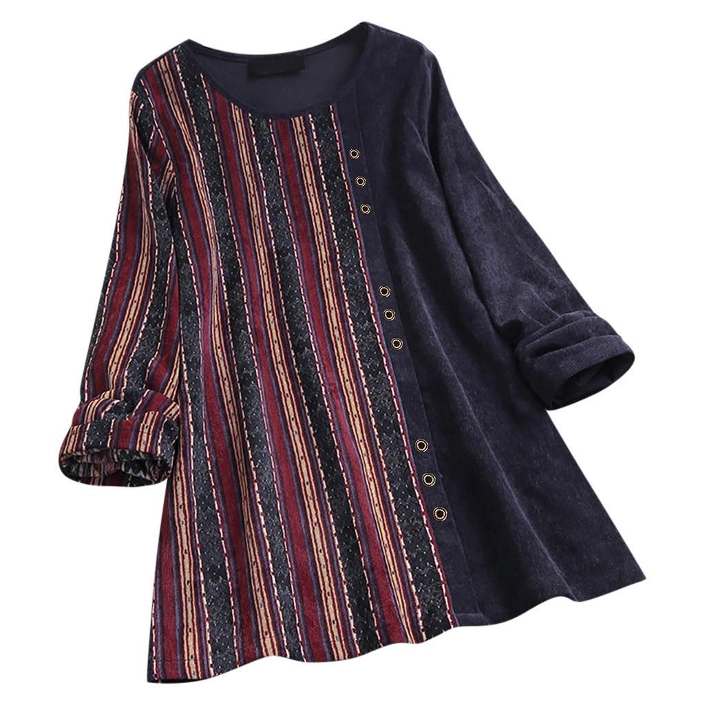 Plus Size Fashion Boho Women Blouse Tops Vintage Long Sleeve Corduroy Stripe Print Patchwork Ladies Loose Pullover Top#LR3
