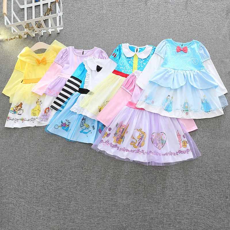 Vestido de niñas para Halloween disfraz de Cosplay Elsa Anna Blancanieves Princesa Sofia Belle vestidos de manga larga ropa de Navidad