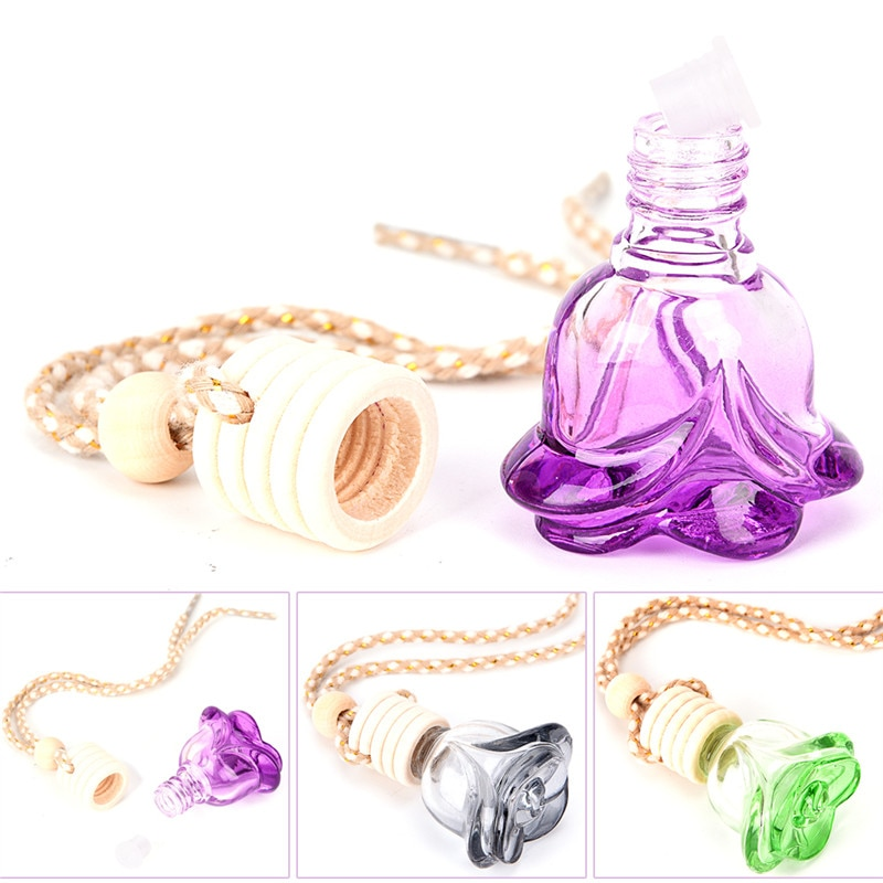 1pc carro perfume garrafa óleos essenciais pendurado garrafa de vidro carro-estilo flor forma auto ornamento perfume pingente ambientador