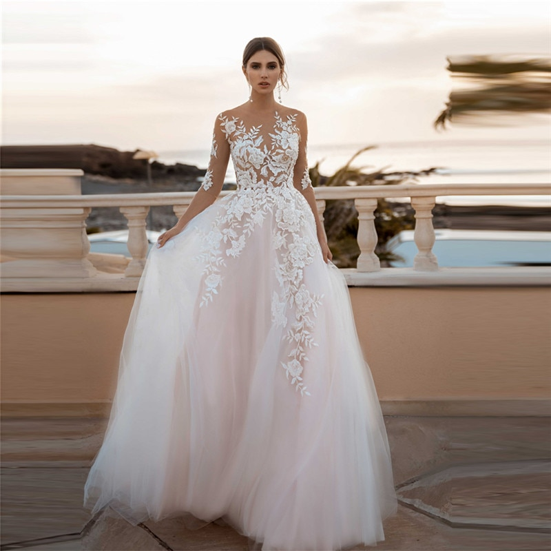 Get Half Sleeves Sheer Lace Appliques Wedding Dress Tulle Buttons Back Bridal Gowns 2021 Sexy A-Line Wedding Wear Spring