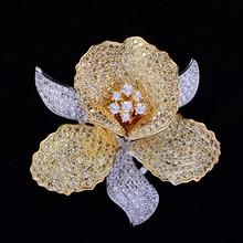 Luxe AAA cubique zircone fleur broche broche Vintage strass cristal orchidée broches et broches pour femmes accessoires bijoux