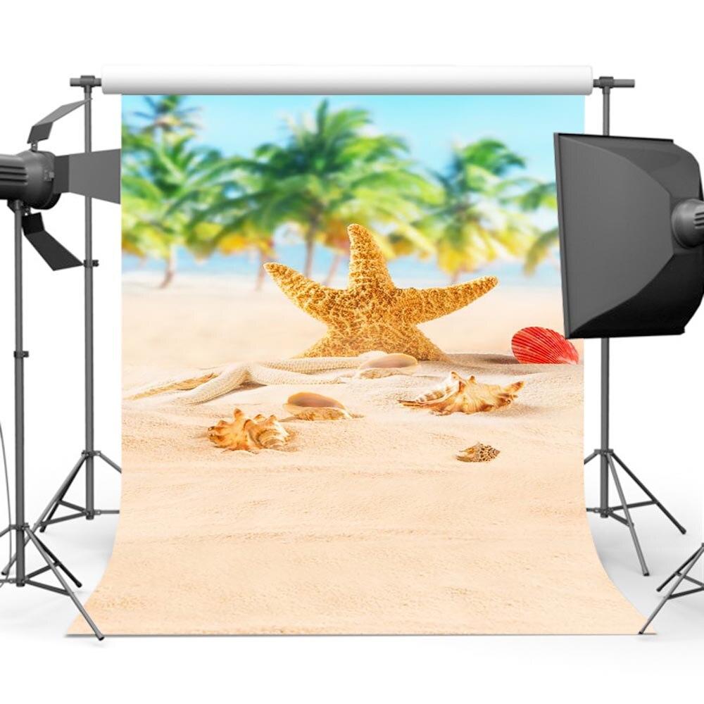 Bokeh Sandy Beach Background Photography Sky Sea Palm Tree Backdrop Photo Studio S-547