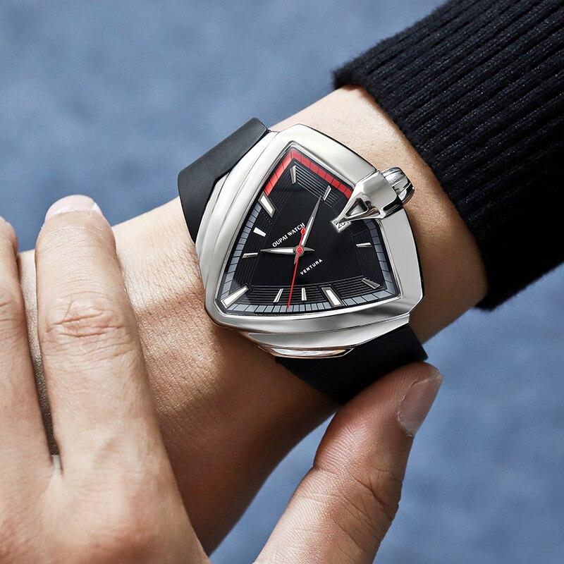 OUPAI 2021 جديد وصول مثلث ساعة أوتوماتيكية الرجال الرياضة تصميم فنتورا تصميم مقاوم للماء مع المطاط الأصلي سوار ساعة