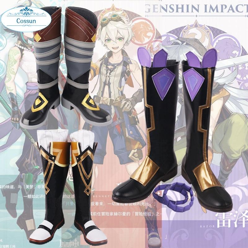 Genshin-أحذية جلدية من أجل تأثير الحلاقة للرجال والنساء ، أحذية تنكرية بينيت ، Xiao ، إكسسوارات الهالوين ، mondtown