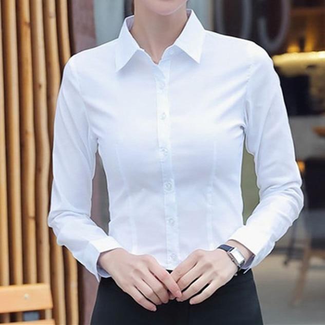 Женские хлопковые рубашки, Женская белая рубашка, блузка с длинным рукавом, офисные женские деловые розовые рубашки, однотонные женские дел...