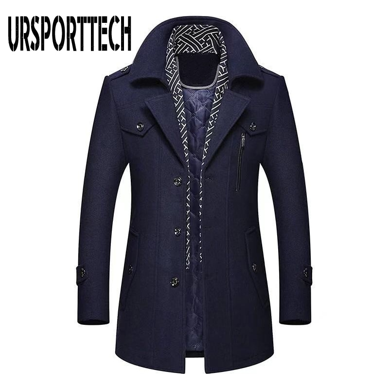 Winter Men\'s Wool Coat 2020 New Fashion Middle Long Scarf Collar Cotton-padded Thick Warm Woolen Coat Male Trench Coat Overcoat