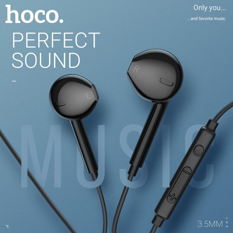 Hoco fio de fone de ouvido fone de ouvido 3.5mm in ear fone de ouvido com microfone para xiaomi samsung hifi fones de ouvido com microfone do fone de ouvido mini telefone 3.5