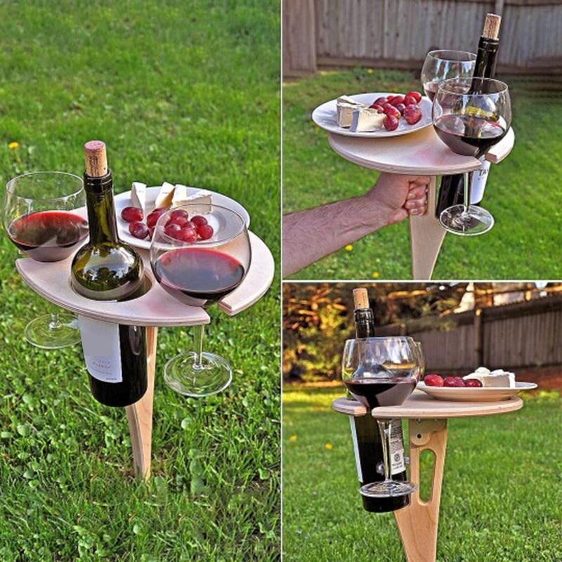 Mesa de vino portátil para exteriores, mueble de jardín con escritorio redondo Plegable, Mini Mesa de madera para pícnic, fácil de llevar, Mesa Plegable
