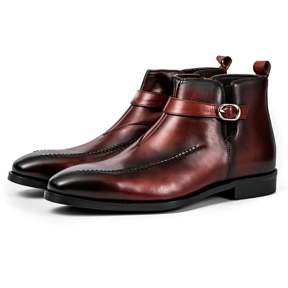 حذاء أكسفورد من جلد البقر الأصلي للرجال ، حذاء تشيلسي بكعب منخفض ، حذاء زفاف إيطالي ، خارجي ، 19