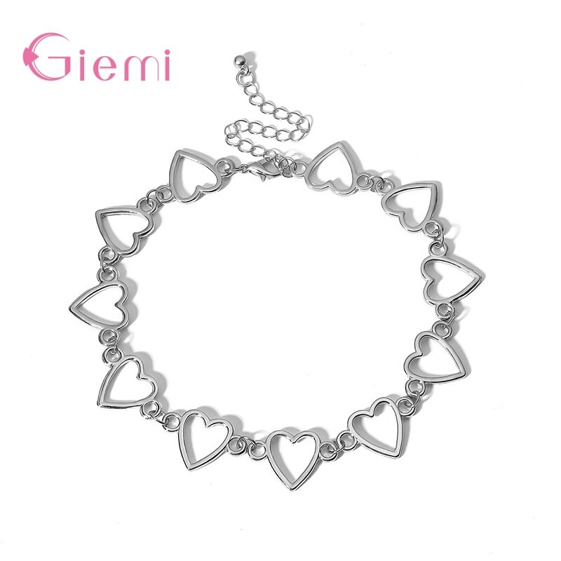 Authentic 100% 925 Sterling Silver Big Heart Shape Link Short Necklace For Women Pendant Jewelry Accessory