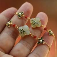 fashion hetian jade enamel flower bracelet vintage fine jewelry for women wedding valentines day gift elegant accessories