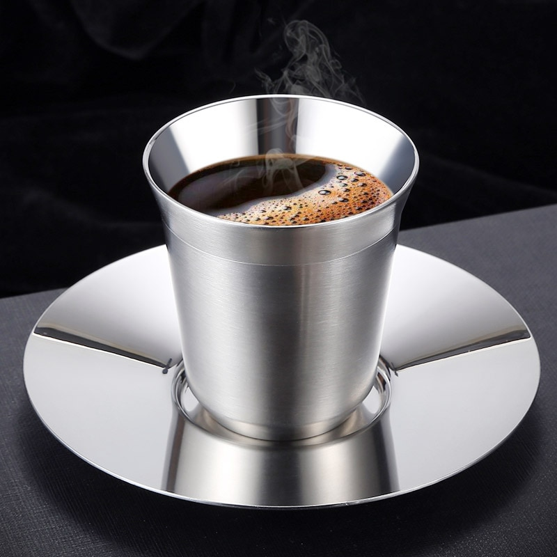 Mini Juego de 2 tazas de café de acero inoxidable Anti-calor con bandeja de placa, Taza de leche de té, vajilla de cocina, accesorios para bebidas, botella