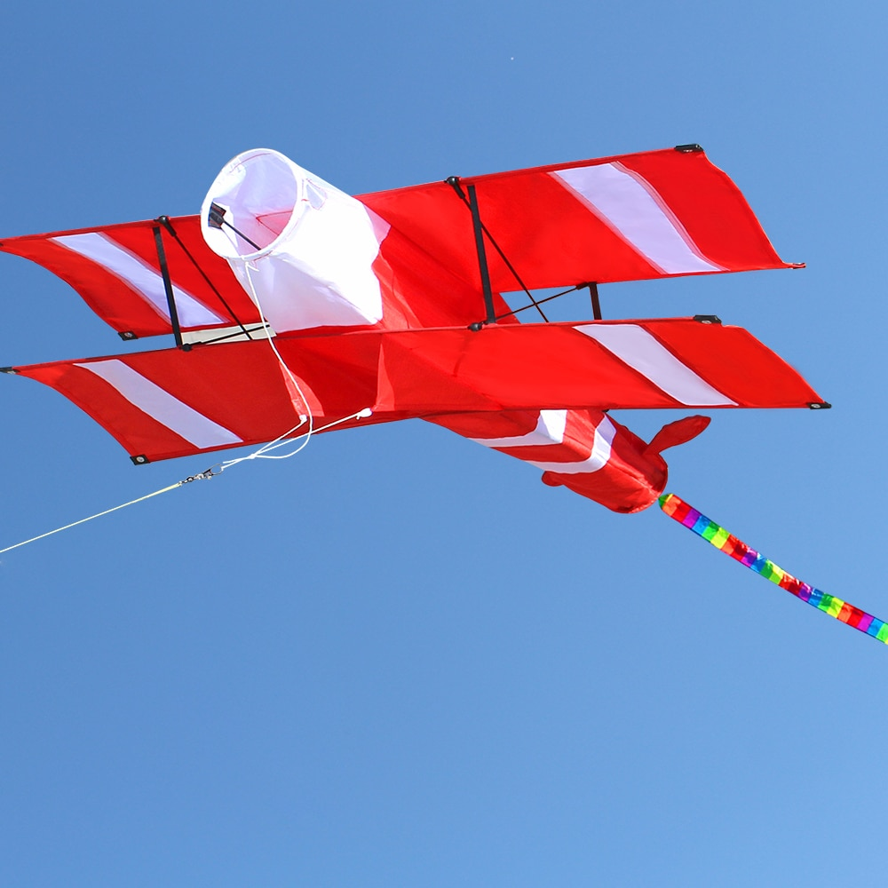 New High Quality 3D Single Line Red Plane Kite Sports Beach With Handle and String Easy to Fly Facto