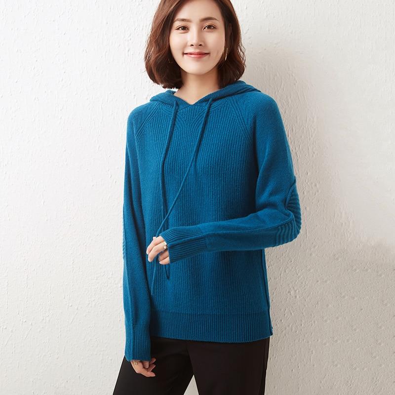 MeetMetro Women Sweater Hoodie 100% Merino Wool Fashion Sweater Hooded Pullover Women Knitted Sweater Cashmere Wool Sweatshirt enlarge