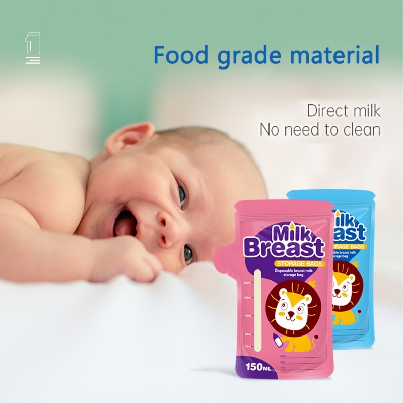 New Cartoon 150ml Kids Storage Bag Breast Milk Bag Disposabl Baby Food Pouch Infant Double Zipper Feeding Bags