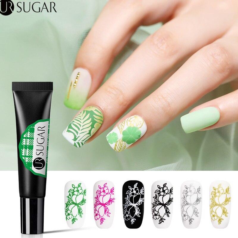 Azúcar ur 8ml uñas de Gel polaco blanco y negro de Arte de uñas sello de Gel UV barniz remojo barniz para placa de estampación para uñas