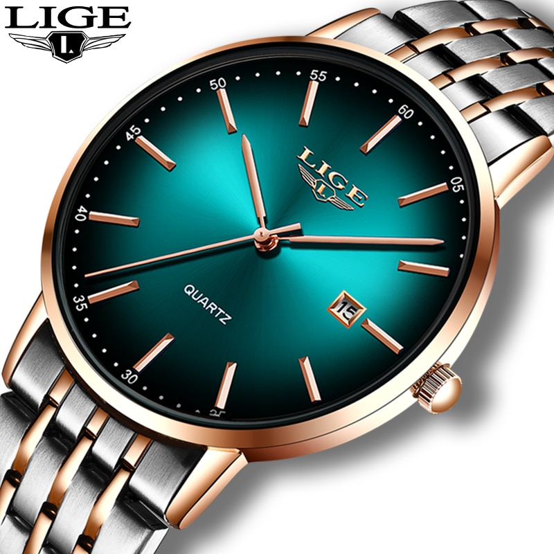 LIGE Fashion Women Watches Ladies Top Brand Luxury Stainless Steel Calendar Sport Quartz Watch Women Waterproof Bracelet Watches enlarge