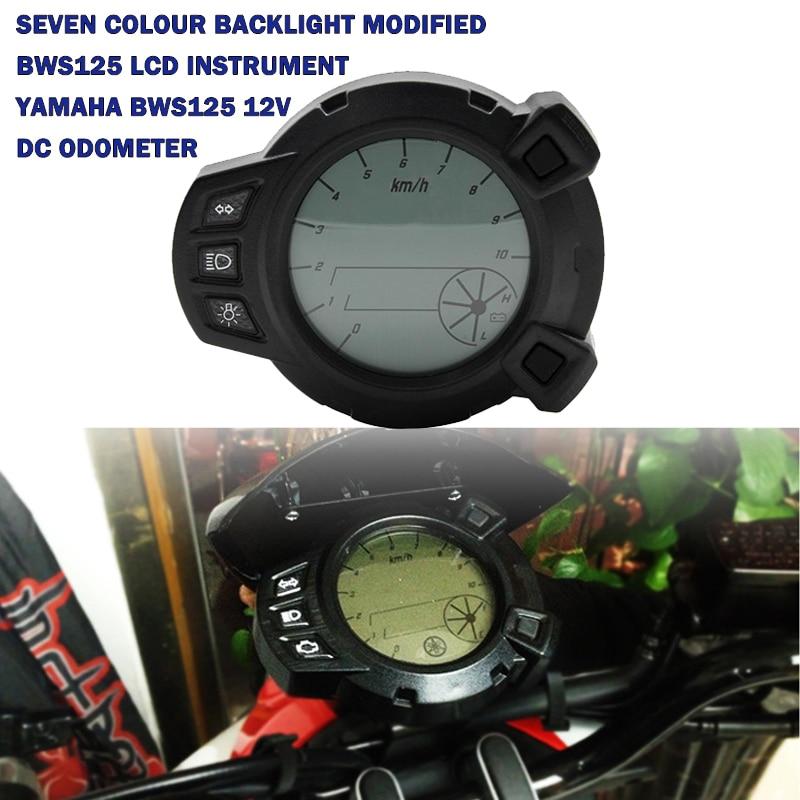 عداد سرعة وعداد المسافات الرقمي LCD لمستوى الزيت للدراجة النارية 10000 RMP 7 ألوان ، عداد مسافات لياماها RXM BWS 125 BWS125