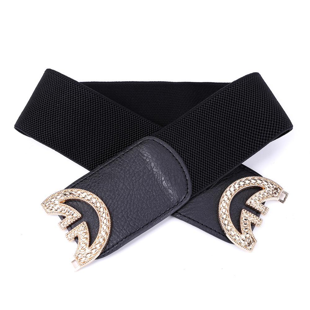 Women Fashion Black Red Cummerbund Wide Elastic Stretch Waist Belt Amazing Lady Waistband for Dress