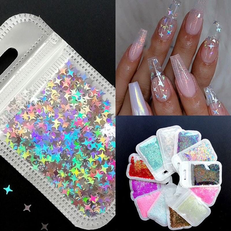 1 Bag Nail Glitter Shiny Star Flakes 3D Nail Sequins Nail Decorations Art Star Flakes Manicure Women Beauty Accessories New